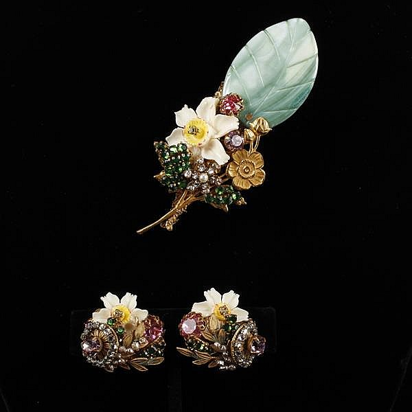 Miriam Haskell 2pc. Dyed Mother of Pearl & Carved Bone Floral Brooch Pin & Clip Earrings with rhinestones and faux pearls.