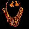 Miriam Haskell 2pc. Sunrise Orange Multi Sand Fringe Bib Necklace with beaded screw back earrings.