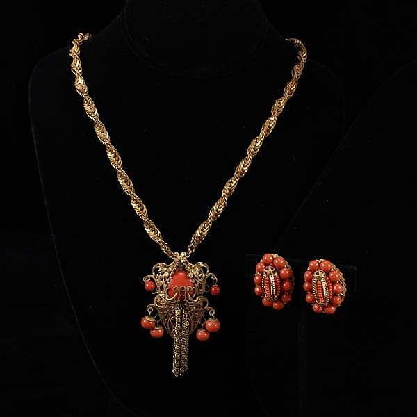 Miriam Haskell 2pc. Set; Coral Glass & Gilt Brass Filigree Necklace & Screw Back Earrings