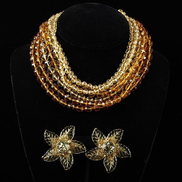 Miriam Haskell 2pc. Multi-strand Amber & Gold Glass Beaded Necklace & Molded Glass Flower Clip Earrings