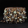 Miriam Haskell Wide Floral Hinged Cuff Bracelet with gilt metal, rhinestones, & green glass beaded flowers.