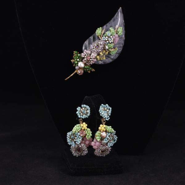 Miriam Haskell 2pc. Feather Floral Beaded Brooch Pin & Clip Earrings