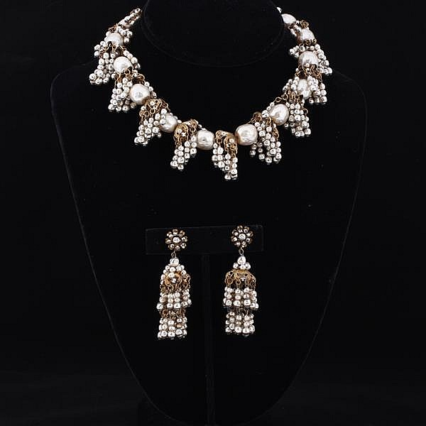 Miriam Haskell 2pc. Set; Faux pearl necklace & clip earrings