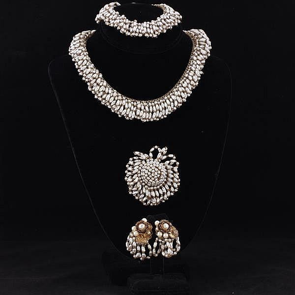 Miriam Haskell 4pc. Set; Faux pearl fringe necklace, bracelet, brooch pin, & clip earrings.