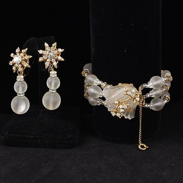 Miriam Haskell 2pc. Frosted glass & rhinestone floral set; Bracelet & Clip earrings.