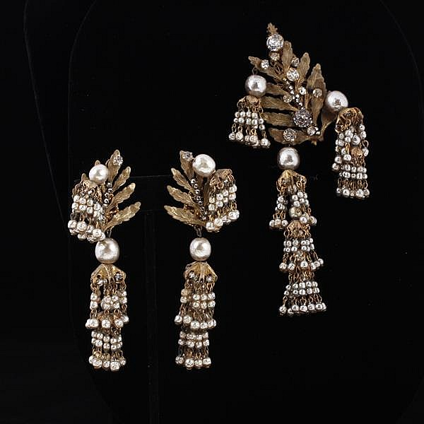 Miriam Haskell 2pc. Rhinestone & Faux Pearl Brooch Pin & Clip Dangle Earrings