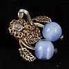 Miriam Haskell 2pc. Blue Moonstone Glass / Rhinestone Gilt Brass Floral Faux Pearl Bracelet, & Clip Earrings
