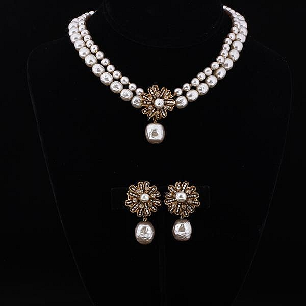 Miriam Haskell 2pc. Set; Faux Pearl Floral Necklace & Clip Earrings