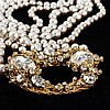 Miriam Haskell 2pc. Rhinestone & Faux Pearl Necklace & Clip Earrings