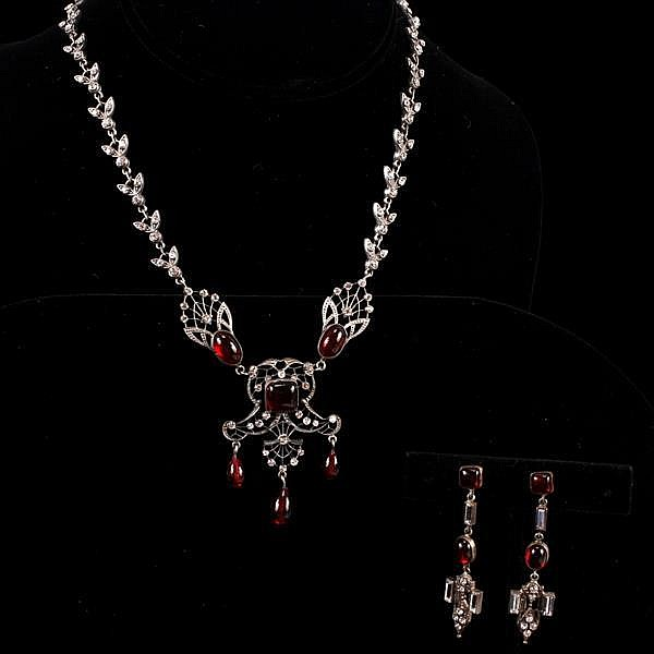 French Art Deco ruby red poured glass and rhinestone silver tone filigree SET; Necklace and Earrings marked FRANCE.