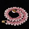 Unmarked Louis Rousselet French Pate De Verre Necklace; three rows pink ombre poured glass rose floral beads.