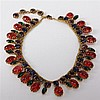 Vintage Designer Poured Glass Multi Color Jelly Cabochon and Rhinestone Collar Necklace