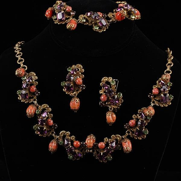Unmarked designer 3pc. Parure; layered and jeweled scrollwork with coral bohemian glass baubles on necklace, bracelet, & clip earrin...