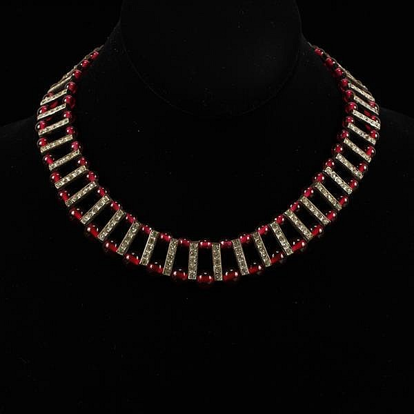 French Art Deco ruby red poured glass bead and brass channel set rhinestone Egyptian collar necklace.