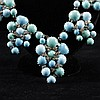 Exceptional Pate de Verre hand poured two tone turquoise glass and diamante ''grape'' cluster bib necklace ca. 1940s.