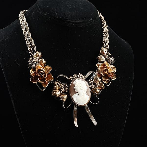 Unmarked Hobe? sterling silver mixed metal roses with cameo in bow swag necklace ca. 1940s.