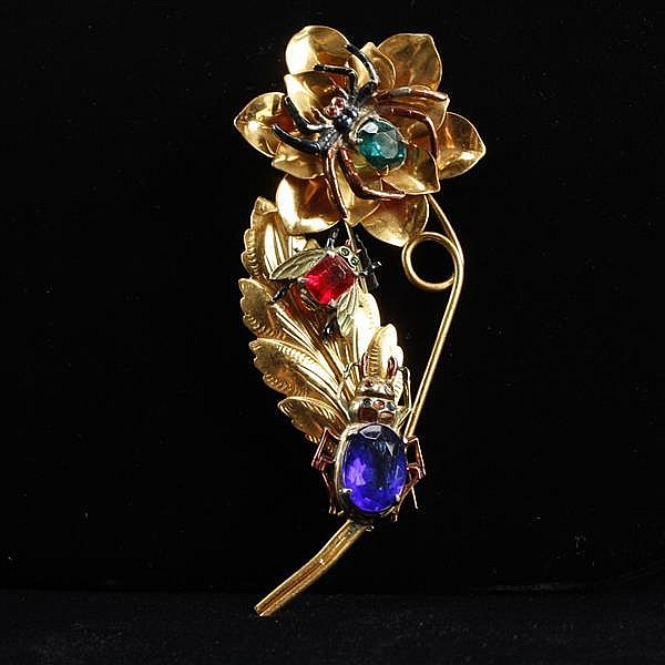 Retro GIANT jeweled insects / bugs on gold tone and brass flower pin brooch.