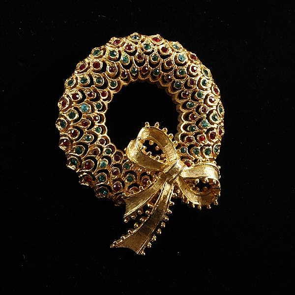 MYLU Gilt Wreath Brooch Pin with red & green jewels.