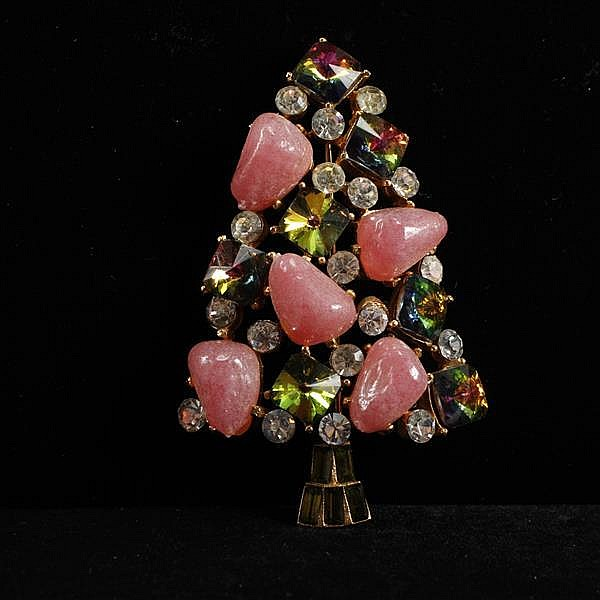 MYLU Jeweled Christmas Tree Brooch with poured glass beads