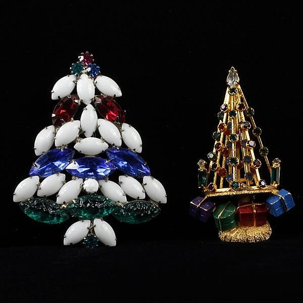 Two Jeweled Christmas Tree Brooches