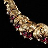 Boucher ruby red poured glass jelly and rhinestone studded choker necklace.