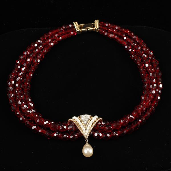 Boucher multi strand red crystal necklace with gold tone and pave rhinestone pearl drop accent.
