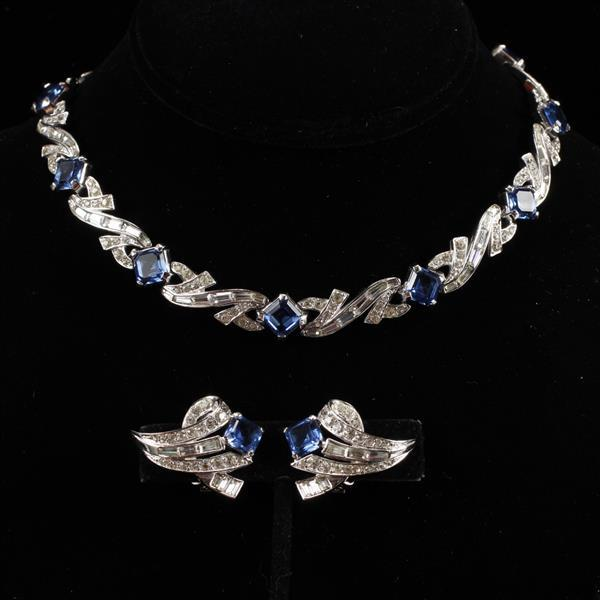 Boucher 2pc. Diamante Sapphire Crystal SET; Necklace & Clip Earrings with Clear & Blue Rhinestones