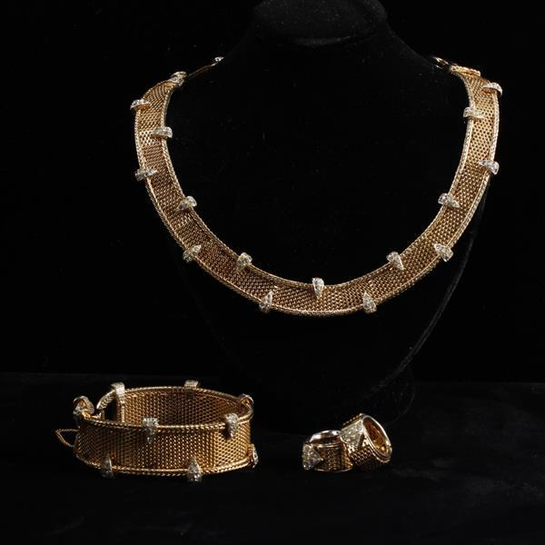 Boucher 3pc Set; Gold Tone Retro Mesh and Pave Rhinestone Necklace, Bracelet, & Clip Earrings