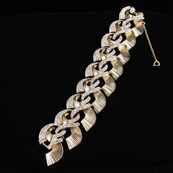 Boucher Retro Art Deco gold tone and pave rhinestone bracelet.