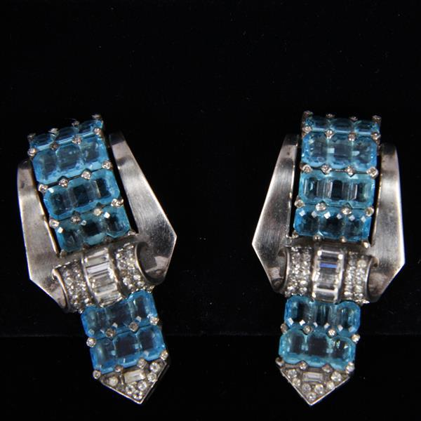 MB Marcel Boucher pair Sterling Silver Retro Art Deco jeweled buckle pin fur clips with aqua blue crystal stones.