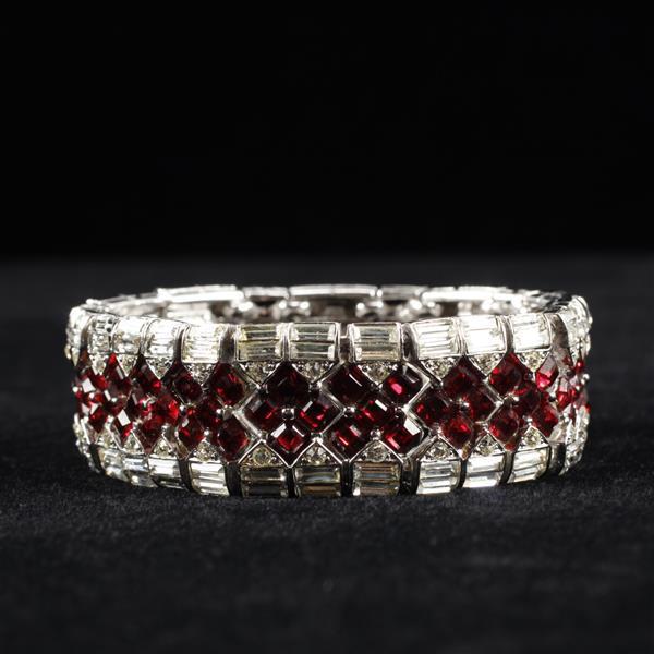 Boucher Art Deco Diamante Bracelet with Ruby Red Square Rhinestones