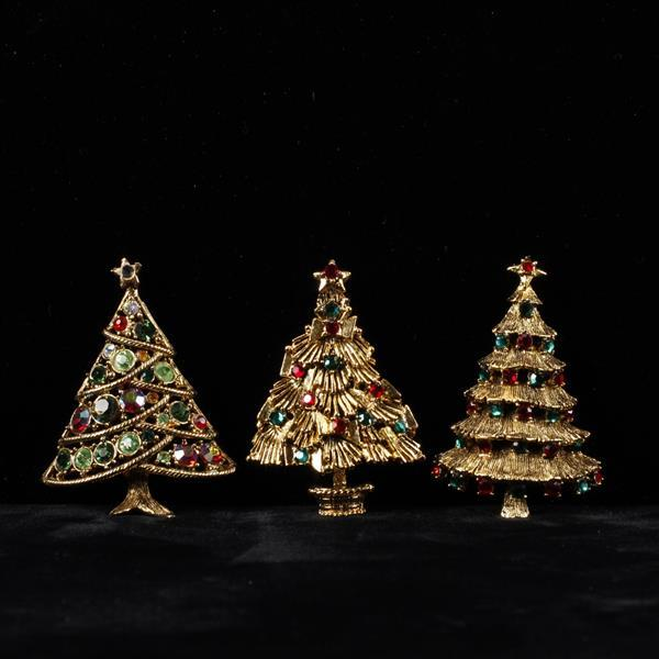 Hollycraft 3pc. Rhinestone Christmas Tree brooch pins