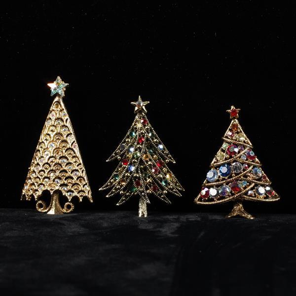 Lot of 3 Rhinestone Christmas Tree brooch pins