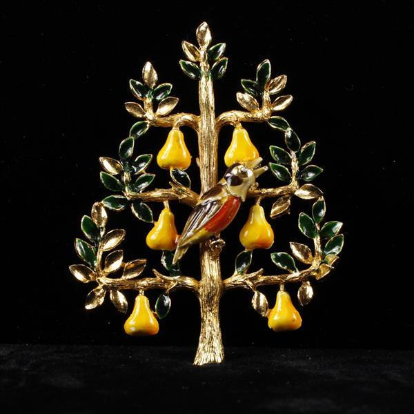 Cadoro Vintage Gold Tone Partridge in a Pear Tree Enameled Brooch Pin