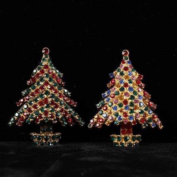 Two Kramer Rhinestone Christmas Tree Brooch Pins