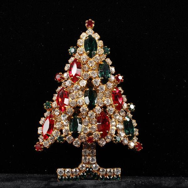 Eisenberg ICE Rhinestone Christmas Tree Brooch Pin