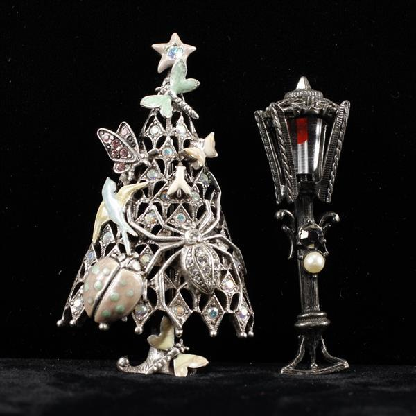 Kirms Folly Insect Christmas Tree Brooch Pin & Hollycraft Lamp Post Brooch Pin
