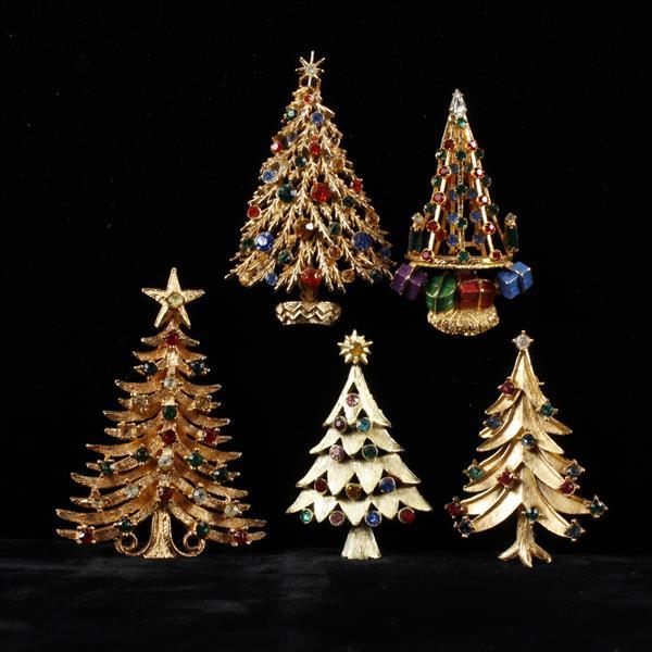 Five Rhinestone Christmas Tree Brooch Pins
