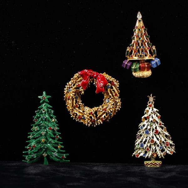 Lot of 3 Rhinestone Christmas Tree & 1 Wreath Brooch Pins