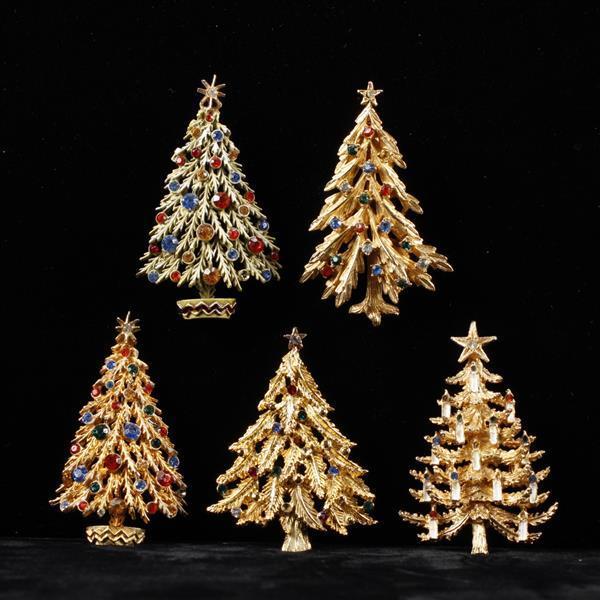 Five Rhinestone Christmas Tree Brooch Pins