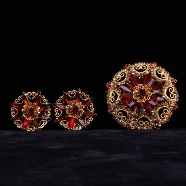 Hobe 2pc. jeweled brooch and earrings SET