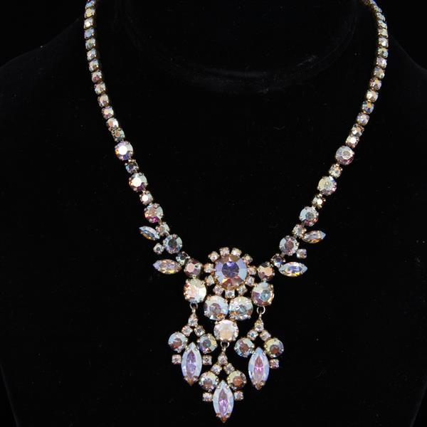 Sherman Diamante Aurora Borealis Designer Jeweled Bib Necklace