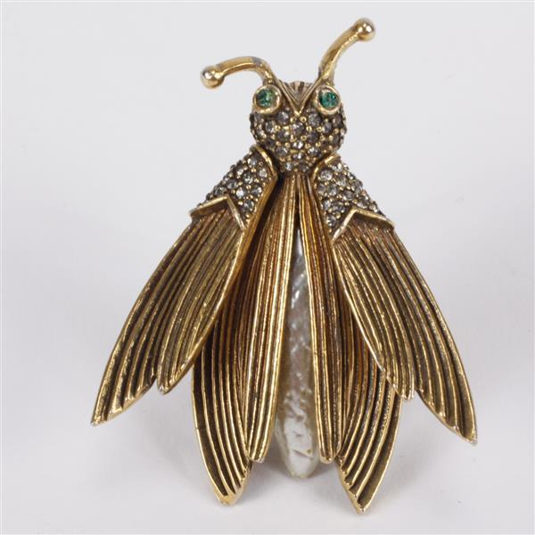 Pauline Rader Insect trembler Figural brooch pin with baroque pearl body.