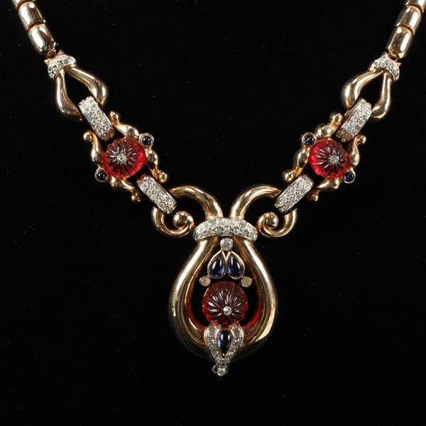 Trifari Alfred Philippe ''Scheherazade'' Moghul jewel necklace with red molded glass flowers.