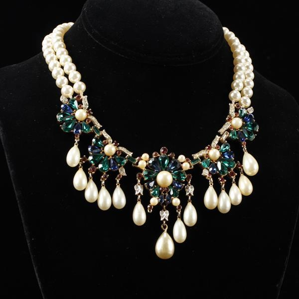 Stunning Trifari Alfred Philippe double strand Jewels of India bib necklace with tear drop faux pearls.