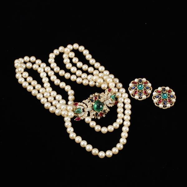 Trifari Alfred Philippe 2pc. Jewels of India double strand faux pearl necklace and earrings.