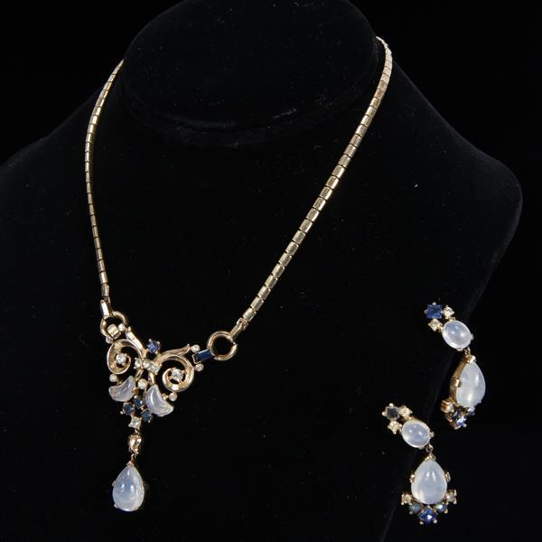 Trifari 2pc. Gold Tone Blue Rhinestone & Moonstone Set with Demilune or Crescent Jelly Stones.
