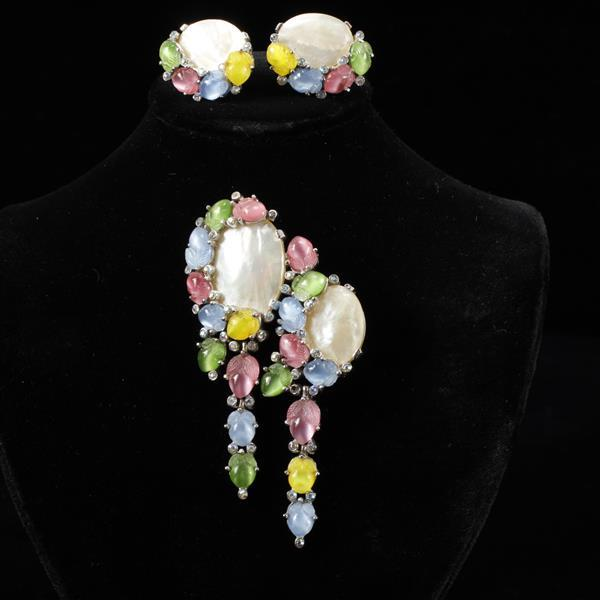 Trifari Alfred Philippe 2pc. Brooch Pin & Clip Earrings