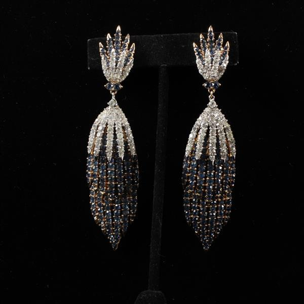 Trifari Alfred Philippe Fireworks Sapphire Diamante Chandelier Drop Earrings