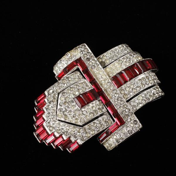 KTF Trifari 1930s Art Deco Ruby Red and Pave Diamante Belt Buckle Clip-Mates duette pin brooch.